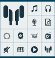 music icons set collection of earmuff file vector image vector image