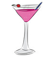 pink cocktail with a red cherry and blue stearing vector image