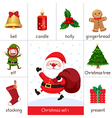 Printable flashcard for Christmas set and Santa Cl vector image