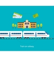 Railway station concept Train on railway vector image vector image