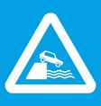 riverbank traffic sign icon white vector image vector image