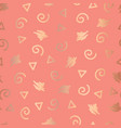rose gold abstract doodle shapes seamless pattern vector image vector image