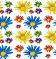 Seamless backgroun with colorful flowers vector image