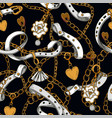 seamless pattern with belt and chain vector image