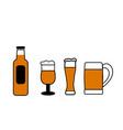set bottles glasses and mugs beer vector image