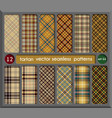 set in beige tartan seamless pattern background vector image vector image