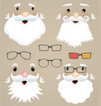 set of christmas masks santa claus glasses vector image vector image