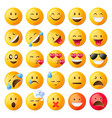 set of cute emoticons set of emoji vector image vector image