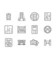 subway flat line icons set vector image