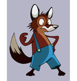 Surprised cartoon fox in pants vector image vector image
