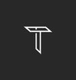 T letter logo mockup line monogram symbol for vector image
