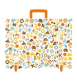 travel bag consisting of summer icons vector image vector image