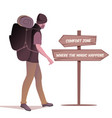 traveler walking with hat and backpack on his vector image vector image