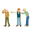 Two boys make jokes about another one without hair vector image vector image