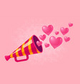 vintage megaphone with hearts vector image vector image