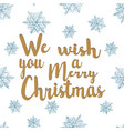 we wish you a happy christmas lettering vector image vector image
