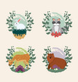 wild animals collection vector image