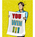 you win vintage pop art vector image vector image