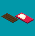 flat chocolate isolated on color background vector image