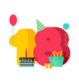 18 year birthday sign 18th template greeting card vector image vector image