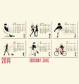 2019 new year calendar with fashion vector image
