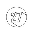 27 number lines icon symbol vector image vector image