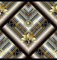 3d striped greek floral seamless pattern vector image vector image