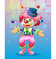 A clown with four colorful balls vector image