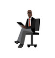 african businessman with tablet computer vector image