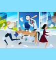 angry office worker goes mad at workplace vector image