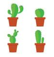cactus in pots color vector image vector image