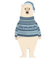 cartoon polar bear cute polar bear in a sweater vector image vector image