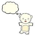 cartoon shocked polar bear cub with thought bubble vector image vector image