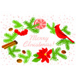 christmas wreath with poinsettia red flower vector image vector image