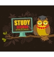 Clever owl on the tree with computer vector image