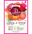 Color splash wedding party invitation card vector image