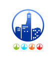 commercial urban building silhouette circle icon vector image vector image
