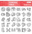 coronavirus line icon set covid-19 symbols