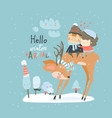 couple in love sitting on deer in winter forest vector image vector image