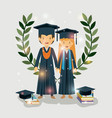 couple of graduates class of the year characters vector image vector image