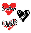 cowboy country love heart for cards or symbol vector image vector image