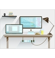 Creative office desktop workspace Mock up vector image vector image
