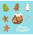 Cristmas Cookies Set Ginger house little man vector image