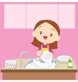 cute girl Dish washing vector image