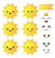 cute happy sun with smiley face on white vector image vector image