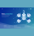 data protection with laptop and shield vector image vector image