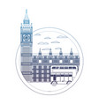 degraded line london clock tower and urban bus vector image vector image