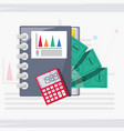 documents calculator and bill investment concept vector image vector image