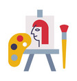 easel palette paints and brush school vector image