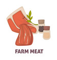 farm meat with salt and paper promotional poster vector image vector image